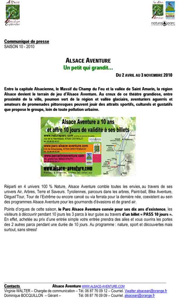 CP-ALSACE AVENTURE GROUPE-10 ANS- 2010-1